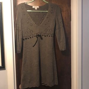 Brown knitted sweater dress